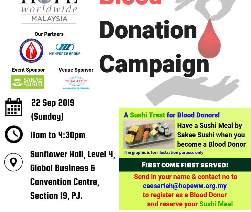 HOPE worldwide Malaysia Blood Donation Campaign 2019
