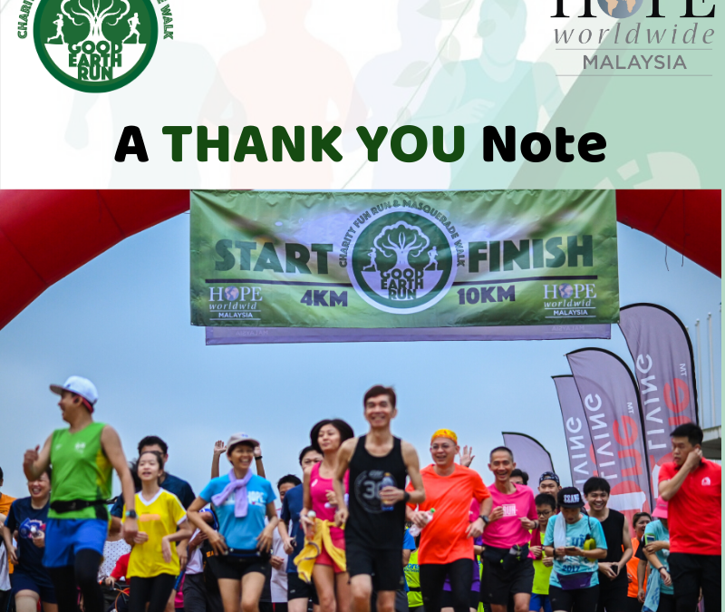 Good Earth Run 2019 Thank You Note