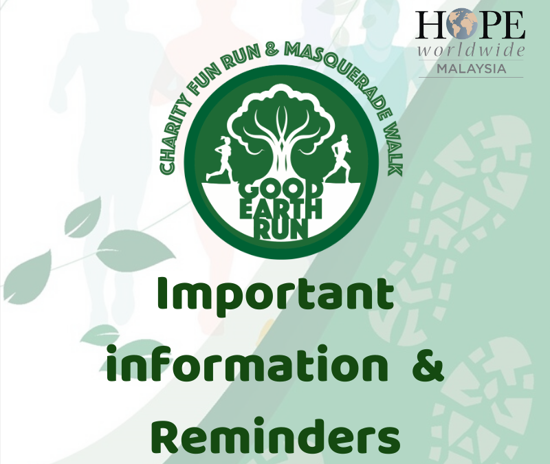 Good Earth Run 2019 Important Information for Participants